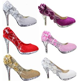 Wholesale Bridal Shoes Color - 2018 Glitter Gorgeous Wedding Bridal Evening Party Crystal High Heels Women Shoes Sexy Woman Pumps Fashion Bridal Shoes 7 color