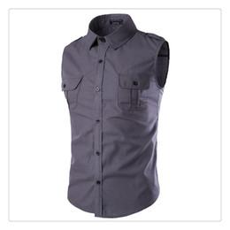 Wholesale Shirt Epaulets - Men's Casual Shirts Fashion Pure Color Epaulet Design Men's Sleeveless Casual Sports Summer Shirts US SIZE:XS-XL