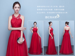 Wholesale Organza Embroidered Bridesmaid Dress - Evening dress 2017 new party host small formal attire women long banquet dress short bridesmaid dresses spring and summer