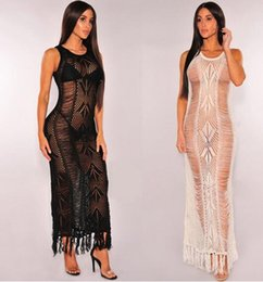 Wholesale Long Beach Cover Up Dresses - 2017 new Women Swimsuit Cover Up Fashion tassels Hollow Knit swimsuit dress Sunscreen beach dress Long Beach Bikini blouses