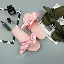 Wholesale Box For Bowtie - (With Box+Dust Bag) Fashion Womens Slippers Fenty Bandana Slide RIHANNA Bow Slides Ladies Slipper White Pink Red Gold For Sale Size 36-41