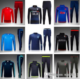 Wholesale Mens Football Jackets - 2016-17Top quality Marseille training suit mens soccer jacket 16 17 survetement football tracksuits uniforms long sleeve shirts