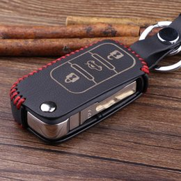 Wholesale Volkswagen Key Fobs - New Leather Remote Key Chain Fob Bag Holder Cover Case fit For Bora Polo Touareg Golf Jetta Touareg Passat 3 button