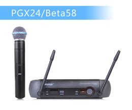 2019 uhf micrófono inalámbrico Envío al por mayor-libre !! UHF Sistema de micrófono inalámbrico profesional PGX24 / BETA58 PGX14 PGX4 PGX2 MIC para ETAPA sin estuche! Caja normal uhf micrófono inalámbrico baratos