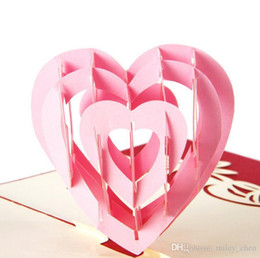 Wholesale Handmade 3d Shape - Fashion 3D Pop Up Foldable Greeting Cards Creative Handmade Heart Shape Paper Cuts Valentines Teachers Thank You Mother's Day