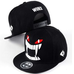 2f157488a85bd Snapbacks Fitted Caps Flat WUKE Big Teeth South Korean Outdoor Skateboard Dance  Baseball Cap Hipster Hats Hiphop Hat Black inexpensive wuke cap