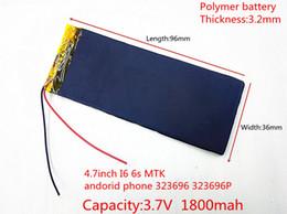 Wholesale Li Ion China - 303696 3.7V 1800mAh Rechargeable li-Polymer Li-ion Battery For china clone 4.7inch I6 6s MTK andorid phone 323696 323696P