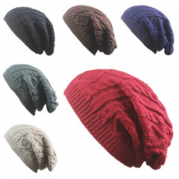 Wholesale girls sweater knit pattern - Fashion girls Women New Design Caps beanie Twist Pattern Solid Color Women Winter Hat Knitted Sweater Fashion Hats 6 colors