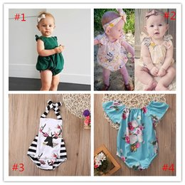 Wholesale Next Kids Clothing Wholesalers - Baby Boutique Clothes Toddler Rompers Suit Infant Kids Onesies Floral Deer Leotards Ruffle Jumpsuit Bodysuit Next Child Clothing 4 New Style