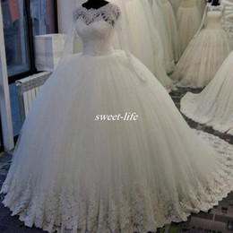 Wholesale Long Sleeve Sequins Actual - Actual Image White Long Sleeves Wedding Dresses Ball Gown Puffy Tulle Appliqued Sequins Sheer Neck Princess Lace Bridal Gowns Plus Size 2017