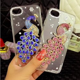 Wholesale Iphone Peacock - Luxury Crystal Diamond Clear Ballet Peacock Butterfly Phone Cases For Iphone6 6S Plus 7 7Plus bling Rhinestone Case
