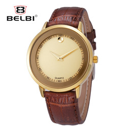 Wholesale Wristwatch China - BELBI Fashion Men Wristwatches AAA Genunie Leather with Waterproof Quartz Movement Analog Male China Watches Brand