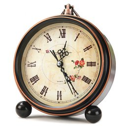 Wholesale Office Alarm Clock - Wholesale-Antique Style Bedside Mute Clock Small Electronic Alarm Desk Clock European Retro Nostalgia Table Clock Office Studio