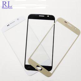galaxy s6 lcd blanco Rebajas 10 unids / lote LCD frontal digitalizador lente de la pantalla de vidrio exterior para Samsung Galaxy S6 G9200F G920F G920A G920T G920V blanco negro azul oro