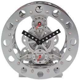 Wholesale Double Wall Clock - Modern 3D Wall Clock German Design Double Gear Alarm Clocks With Alarms Desk Small Mechanical Table Clock