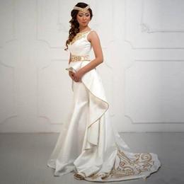 Wholesale Taffeta Mermaid Wedding Bride Dress - 20018 White Gold Beading Arabic Wedding Dresses Dubai Saudi Jewel Crystal Court Train Bridal Gowns Bride Formal Wear Robe De Maraige