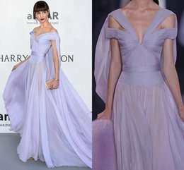 Wholesale High Shoulder Jackets - Lavender Lilac Chiffon Ralph & Russo 2016 Celebrity Evening Dresses A Line Off The Shoulder Chiffon Ruched Long Formal Prom Party Gowns