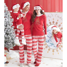 Wholesale Mom Daughter Clothing - Christmas family matching clothing mother father son daughter matching clothes mom papa son daughter set T shirt+trousers leisure wear A776
