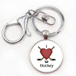 Wholesale Metal Keychain Rings - Brand Keep Calm and Love Hocky keychain casual sports ice hockey key chain ring men women fashion keyring jewelry