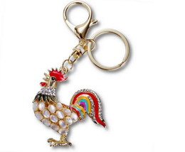 Wholesale Girl Effects - Translucent effect Opal Alloy plating women keychain bag pendant Simulation rooster Car key chain ring holder Jewelry