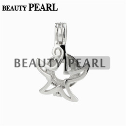 Wholesale Sterling Silver 925 Sea - 5 Pieces Star Locket Love Wish Pearl Gift 925 Sterling Silver Sea Star Cage Pendant for Pearl Mount
