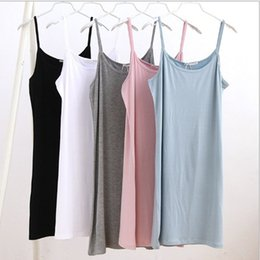 Wholesale Top Dresses Wholesale - Womens 5 Colors Casual Cotton Camisole Modal Spaghetti Strap Long Tank Tops Spaghetti Strap Vest Basic Slip Mini Dress