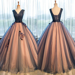 Wholesale Peach Pear - Peach and Navy Blue Ball Gown Prom Dress V Neck Sleeveless Ruched Tulle 3D Floral Appliques Beads Corset Evening Gown Quinceanera