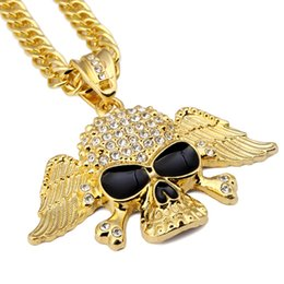"""Wholesale Jewelry Crystal Skull Necklace - Fashion Tide Hip Hop Skull Necklace With Angel Wings Paved Austrian Crystal With 30"""" Long Chain For Club Party Jewelry"""