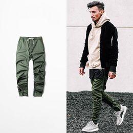 Wholesale Harem Pants Plaid Man - Wholesale- kanye west hip hop clothing men joggers jumpsuit chino  Green side zipper harem justin bieber pants