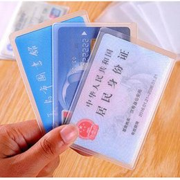 Wholesale Wallet Badges - 600pcs lot Universal Waterproof ID Badge Holders PVC Business Card Holder ID Card Cover Bank Card CaseTransparent Holder