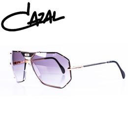 Wholesale Titanium Glass Frames Ladies - Cazals Men Sunglasses Mirrored Flat Lenses Street Fashion Metal Frame Women Sunglasses Ladies Driving Glasses Shades With Box