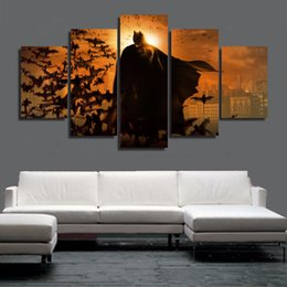 Wholesale Hand Spray Painting - Free Shipping New Arrival Hand-painted 5 Piece Modern Canvas Oil Painting Wall Art Home Decoration Batman 3 The Dark Knight Rises