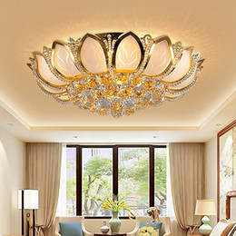 Wholesale Dining Room Crystal Chandelier - Modern LED crystal chandeliers luxury lotus flower high class K9 crystal chandelier hotel lobby villa led pendant chandeliers with bulbs