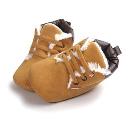 Wholesale Wholesale Work Shoes - Wholesale- ROMIRUS 2017 Autumn and Winter New Baby Martin Shoes Soft Sole Fleece Lining Baby Boots Worm Cute Khaki Baby Work Shoes