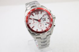 Wholesale Mm Specials - Special Limited Quartz Wristwatch checkered-patterned dial CR7 Red Bezel Full Stainless Steel Band& Skeleton Analog Chronometer Male Watch