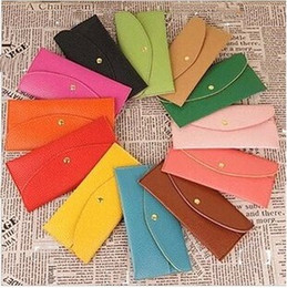 Wholesale Envelope Card Wallet Purse - 2015 Fashion Candy Color Lady Wallets PU Leather Credit Card Tote Envelope Clutch Bags For Women Wallet Purse Coin bag Pouch DHL
