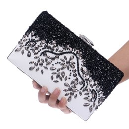Wholesale Handmade Beading Embroidery - Wholesale- Beaded Handmade Pu Women Evening Bags Rhinestones Leather Fashion Small Purse Day Clutches Bags Messenger Bags For Wedding Bag