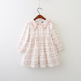 Wholesale Sailor Baby Girl - Everweekend Girls Ruffles Rabbit Print Dress Lovely Kids Sailor Collar Clothes Cute Baby Pink and Blue Color Fall Party Clothing