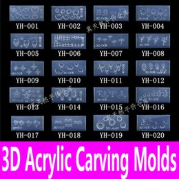 Wholesale Silicon Pattern - Wholesale- 1piece 3d Acrylic Nail Carving Mold Nail Art Template in 139 Designs Pattern Decoration DIY Silicon Gel for Stickers Wholesale