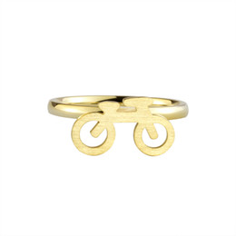 Wholesale Wholesale Biker Rings Free Shipping - Wholesale 10Pcs lot Free Shipping 2017 New Fashion Bicycle Gold Filled Rings Punk Jewelry Stainless Steel Biker Rings Size 6.75