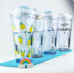 Wholesale Large Plastic Lid - Fashion Summer Ice Double-layer Refrigeration Drink shaker With Lid With Straw Plastic Large Capacity Water Bottle 4 Color