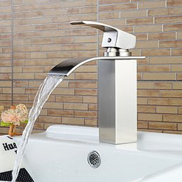 Wholesale Bathroom Nickel - 304 Stainless Steel Bathroom Sink Faucets Waterfall Spout Nickel Brushed Single Handle Hole Hot Cold Mixer Deck Mount Basin Taps SSMP003