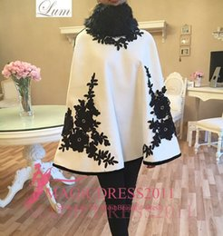 Wholesale Plus Size Black Poncho - Fashion White Wool Poncho with Black Lace Fur Jacket for Evening Dresses Cheap 2017 arabic occasion prom gowns Vestido De Noiva