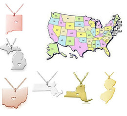 Wholesale New Fashion Heart Charms - 2017 New America 50 State Map Pendant Necklaces With Heart DIY State Pendent & Necklace Stainless Steel Fashion Jewelry New York State