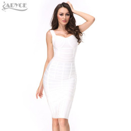 New 2017 Summer Women Runway Bodycon Bandage Dress White Gray Heavily  Banded Bustier Knee Length V-neck Celebrity Party Dresses db9e98bfc2d7