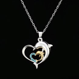 Wholesale Handmade Diamond Necklace - Europe and the new double color Dolphin Pendant Necklace Handmade diamond necklace love exquisite accessories, holiday gifts, prizes