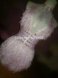 Wholesale Cute Dresses Nightclubs - Pink White Rhinestone Cute Leotard Backless Women Sexy Party Dress Bodysuit Costume Stage Dance Nightclub Party Dancewear