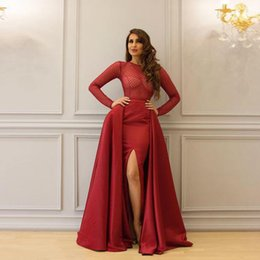 Robes de soirée en Ligne-Shiny Heavy Hand Beaded Prom Gowns Sheath Long Sleeve Illusion Top Designer Sexy Custom Made Evening Dresses Split Side