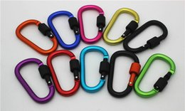Wholesale Mixed Nuts - 8CM locking type D quickdraw carabiner buckle buckle hanging aluminum nut backpack buckle Mix Color High Quality