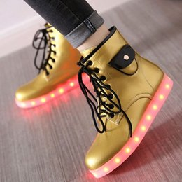 Wholesale Cool Motorcycle Women - SJJH Plus size Fashion women LED ankle martin boots sport style cool light shoes with plus size PP146